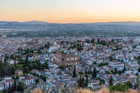 Sunset view of El Salvador church in Granada, Spain