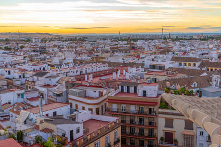 Sunset view of Setas de Sevilla in Spain