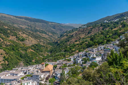 Aerial view of Pampaneira, one of Las Alpujarras white villages in Spain