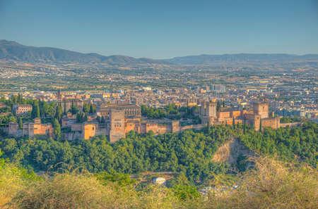 Sunset view of Alhambra in Granada, Spain