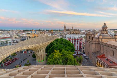 Churches in Sevilla viewed from Setas de Sevilla mushroom structure, Spain