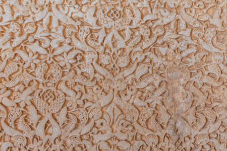 Ornaments inside of Alhambra palace in Granada, Spain