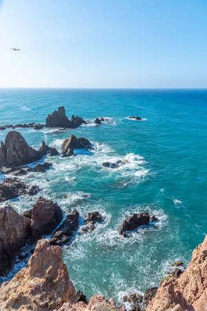 View of Arrecife de las sirenas at Cabo de Gata national park in Spain Stock Photo