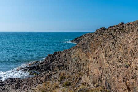 Volcanic elements visible at Punta Baja at Cabo da Gata in Spain