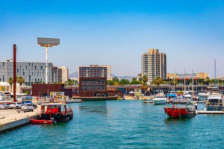 BARCELONA, SPAIN, JUNE 30, 2019: Boats mooring at Port Forum in Barcelona, Spain