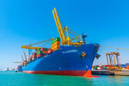BARCELONA, SPAIN, JUNE 30, 2019: View of the industrial port of Barcelona in Spain