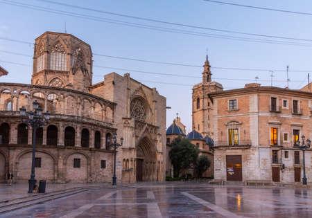 Cathedral in Valencia viewed from Plaza de la Virgen, Spain Redakční