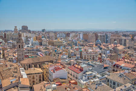 Lonja de la seda, Santa Catalina church and central market viewed from the cathedral in Valencia, Spain