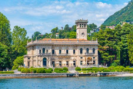 View of Villa Erba at lake Como in Italy Éditoriale