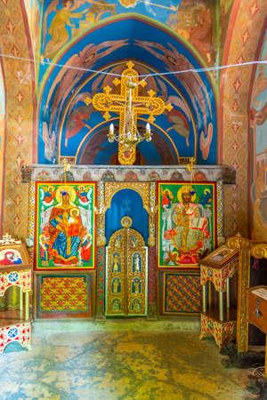 BALCHIK, BULGARIA, JULY 13, 2019: Interior of chapel at palace of Queen Maria in Bulgarian city Balchik Foto de archivo - 150039985