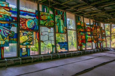 Glass mosaic at riverside cafe in the Ukrainian town Pripyat