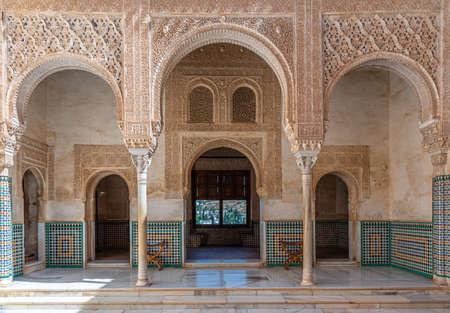 Patio del cuarto dorado inside of Alhambra palace in Granada, Spain