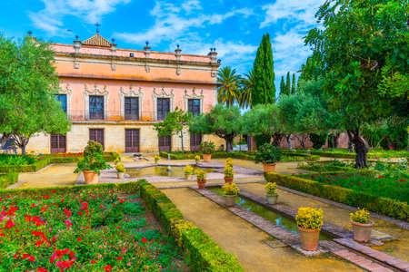 Garden in front of Villavicencio palace at Jerez de la Frontera in Spain