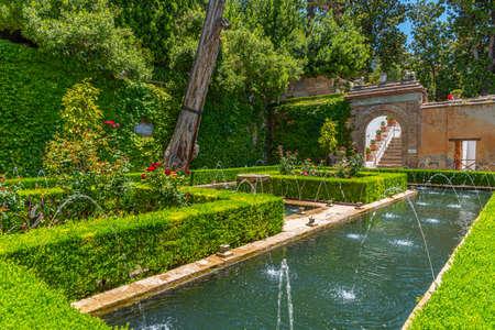 Fountain inside of Generalife palace in Granada, Spain Editoriali
