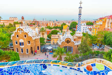 Sunset view of Parc Guell in Barcelona, Spain