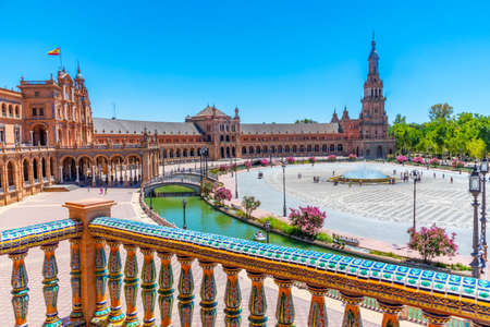 Plaza de Espana viewed through ceramic tiles, Sevilla, Spain