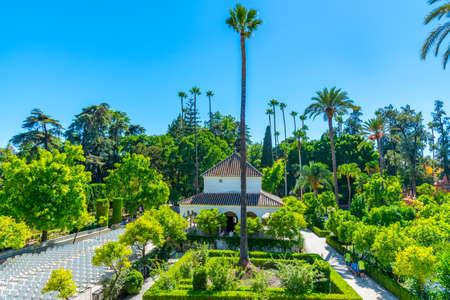 Beautiful garden adjoining the Galeria de Grutesco at Real Alcazar de Sevilla in Spain
