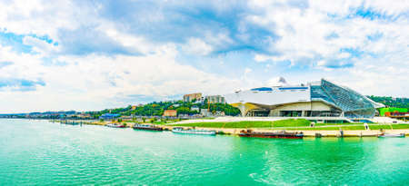 LYON, FRANCE, JULY 22, 2017: Muse des Confluences is a science and anthropology museum situated on confluence of Saone and Rhone rivers in Lyon, France
