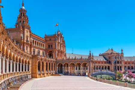 Plaza de Espana in Sevilla during sunny day, Spain