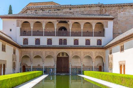 Patio de los Arrayanes inside of Nasrid Palace at Alhambra, Granada, Spain