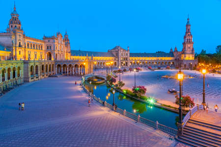Night view of Plaza de Espana in Sevilla, Spain