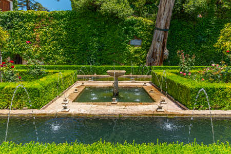 Fountain inside of Generalife palace in Granada, Spain