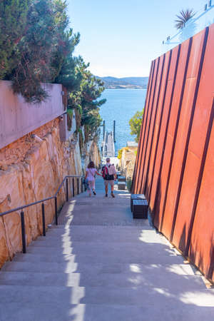 HOBART, AUSTRALIA, FEBRUARY 22, 2020: Staircase leading to a ferry bringing tourists to MONA gallery in Hobart, Australia