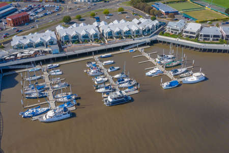 LAUNCESTON, AUSTRALIA, FEBRUARY 29, 2020: Aerial view of marina in Launceston, Australia