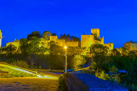 Night view of Castello di Lombardia in Enna, Sicily, Italy