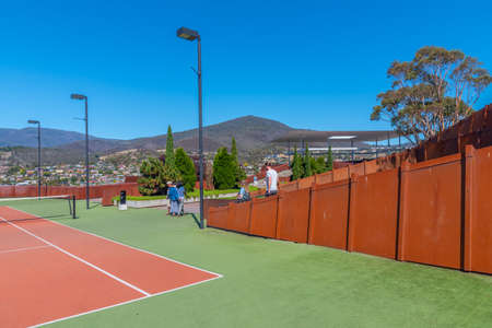 HOBART, AUSTRALIA, FEBRUARY 22, 2020: Tennis court at MONA – Museum of old an new Art in Hobart, Australia