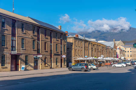 HOBART, AUSTRALIA, FEBRUARY 22, 2020: People strolling on Salamanca street in Hobart, Australia