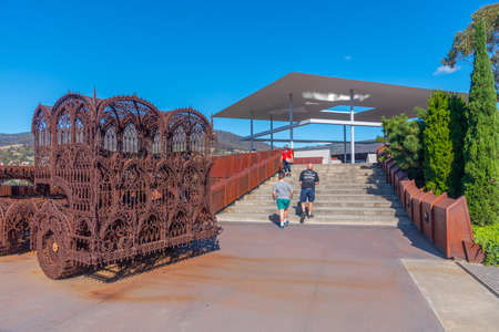 HOBART, AUSTRALIA, FEBRUARY 22, 2020: Outdoor art installations at MONA – Museum of old an new Art in Hobart, Australia