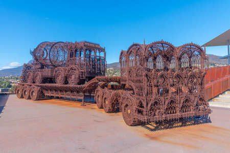 HOBART, AUSTRALIA, FEBRUARY 22, 2020: Outdoor art installations at MONA – Museum of old an new Art in Hobart, Australia