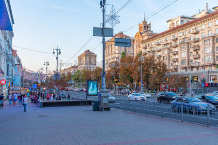 KYIV, UKRAINE, AUGUST 29, 2019: Sunset view of Khreschatyk boulevard in Kyiv, Ukraine 免版税图像 - 156713095