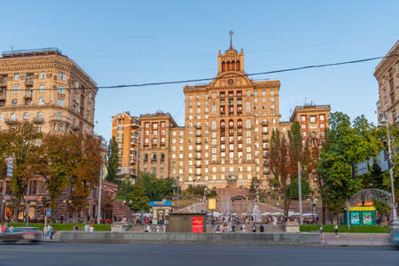 KYIV, UKRAINE, AUGUST 29, 2019: Sunset view of Khreschatyk boulevard in Kyiv, Ukraine