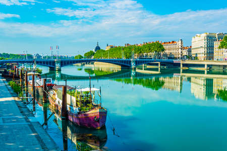 Riverside of Rhone river in Lyon, France 新闻类图片