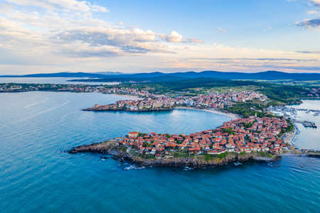 Sunset aerial view of Bulgarian town Sozopol