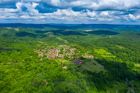 Aerial view of traditional Brashlyan village in Bulgaria