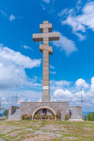 Memorial cross at Okolchitsa peak in Bulgaria