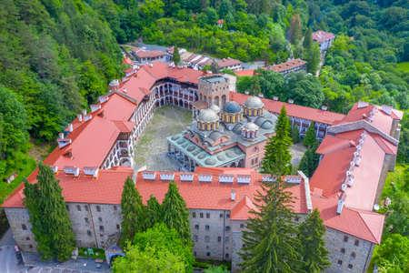 Aerial view of Rila monastery in Bulgaria Stock Photo