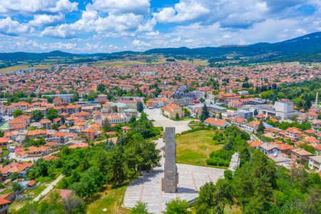View of Panagyurishte town in Bulgaria from the National memorial complex Apriltsi