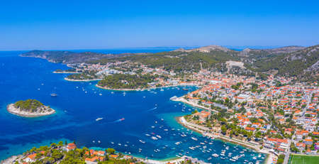 Aerial view of Croatian town Hvar