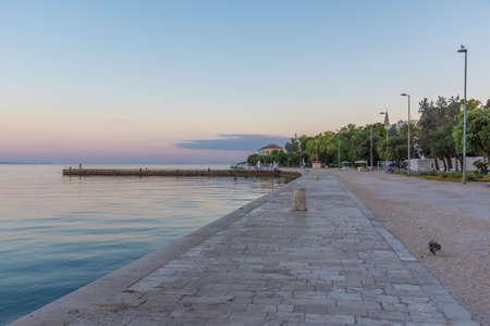 Sunrise view of Riva promenade in the historical part of Croatian city Zadar