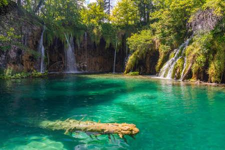 Waterfall at Plitvice lakes national park in Croatia
