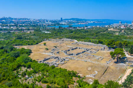 Aerial view of Roman ruins of ancient Salona near Split, Croatia
