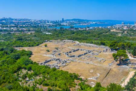 Aerial view of Roman ruins of ancient Salona near Split, Croatia