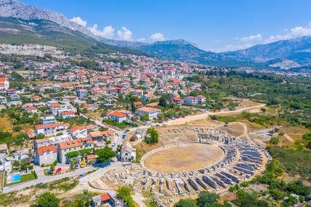 Aerial view of Roman amphitheater ancient Salona near Split, Croatia Stock fotó