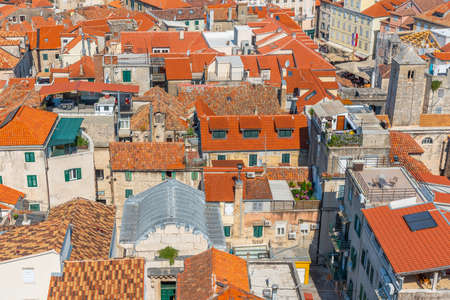 Aerial view of red rooftops of houses in the old town of Split, Croatia