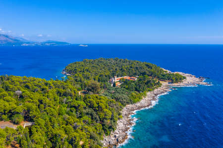 Aerial view of Lokrum island in Croatia with benedictine Monastery Of St Mary
