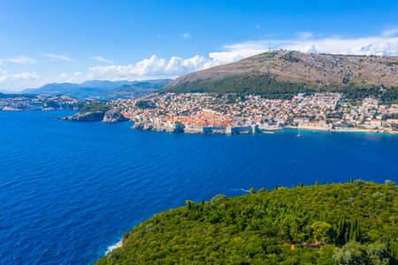 Aerial view of Dubrovnik and Lokrum island in Croatia